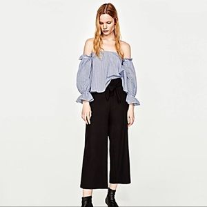Zara Cropped Trouser With Side Tie